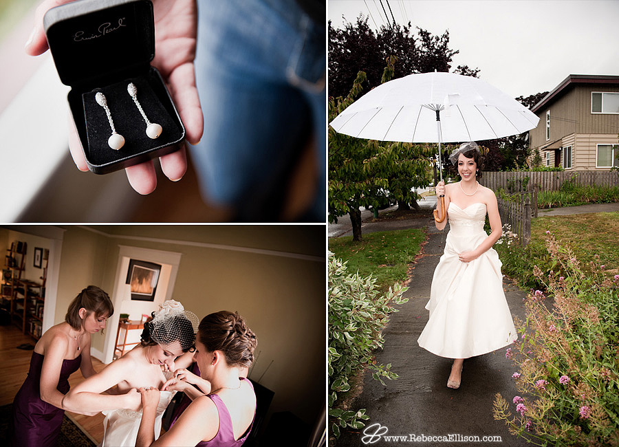 Pearl strand earrings, a vintage umbrella from Bella's umbrellas and a Romona Keveza Designer Dress highlight this rainy Seattle wedding day photographed by Rebecca Ellison Photography