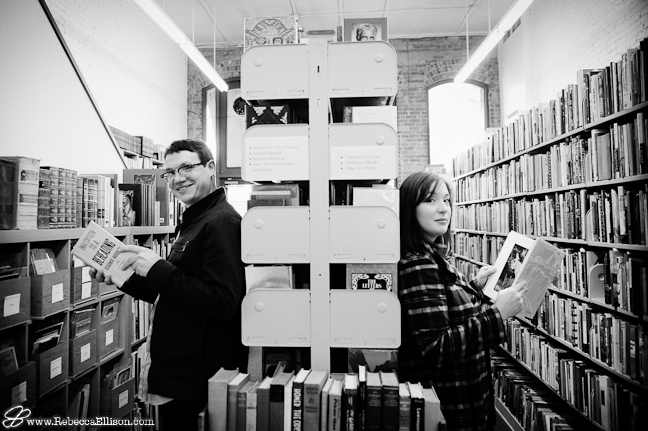 engagement photo session in a downtown seattle bookstore