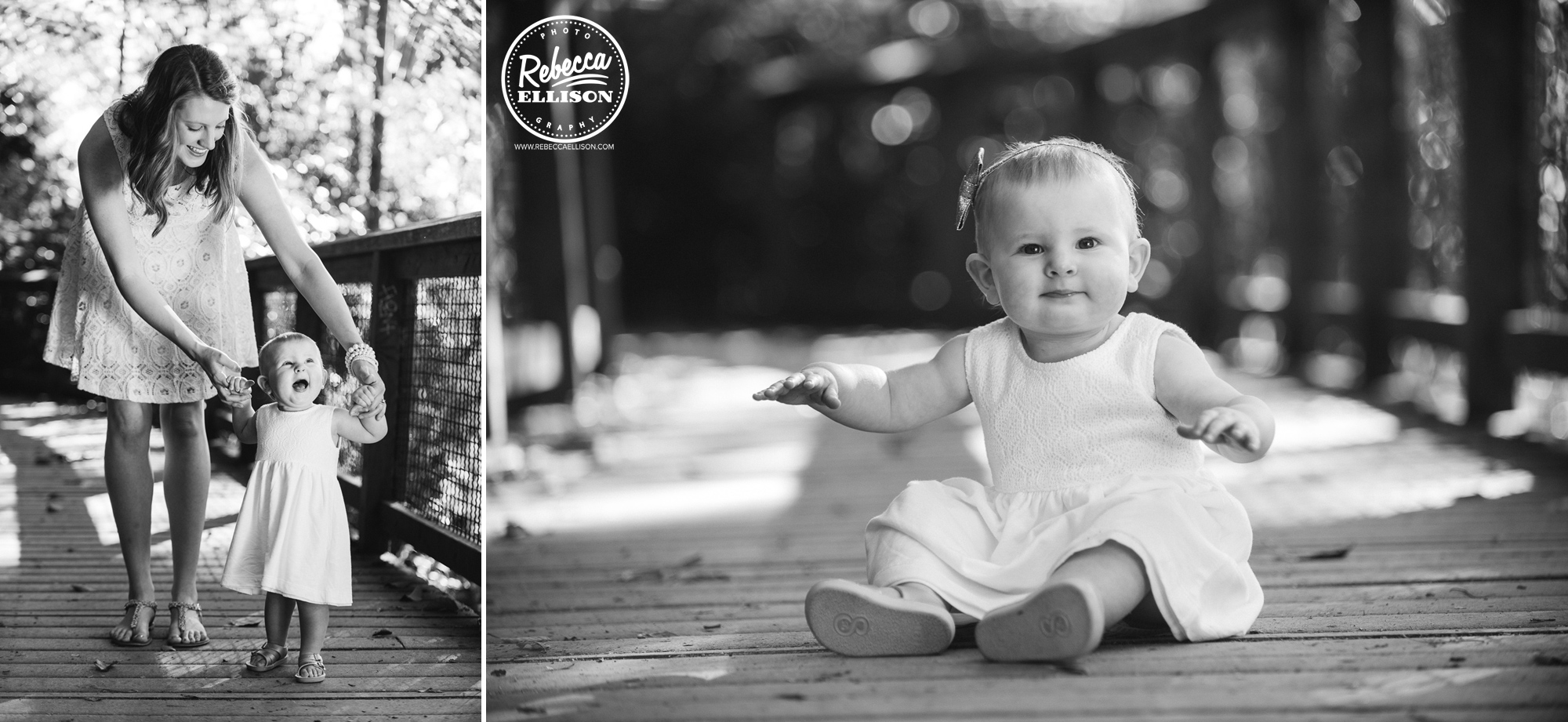 1 year old girls during a family portrait session at Carkeek Park in Seattle photographed by Rebecca Ellison Photography