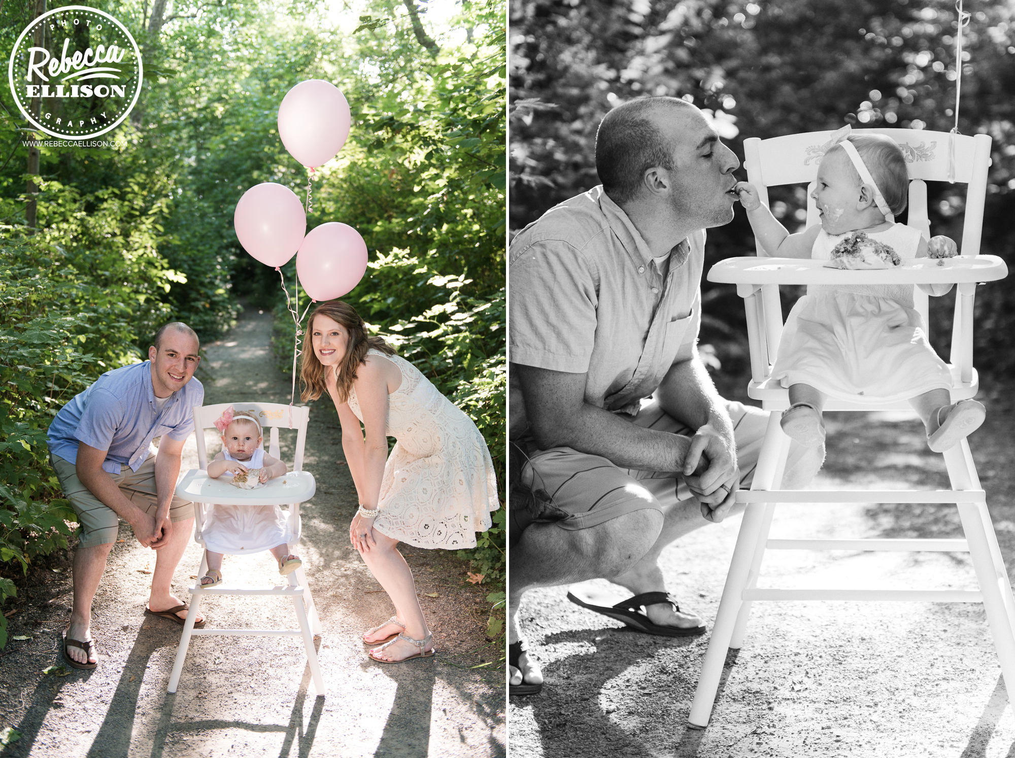 First Birthday Cake smash with mom and dad at Carkeek Park during outdoor family photos by Seattle family photographer Rebecca Ellison