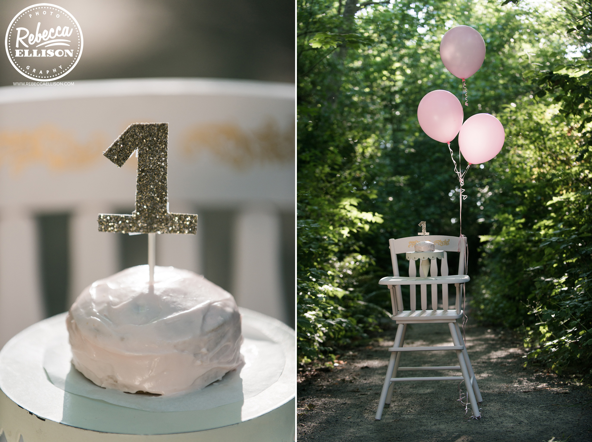 First Birthday cake and a high chair with pink balloons photographed by Rebecca Ellison Photography