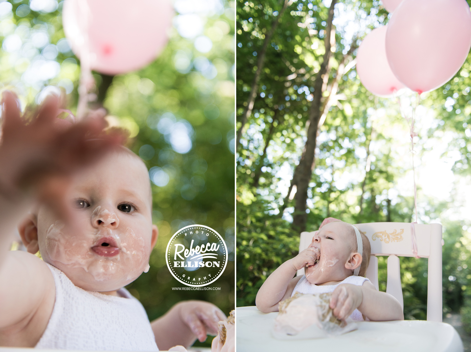 First taste of cake for a 1 year old girl at an outdoor family photo shoot in Carkeek Park by Seattle Family photographer Rebecca Ellison