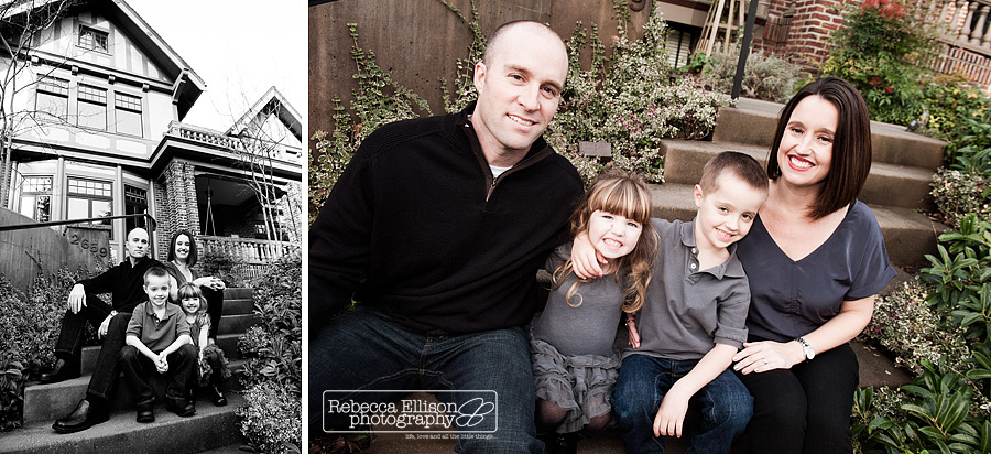 A family of four sits in front of their victorian home photographed by Seattle family photographer Rebecca Ellison