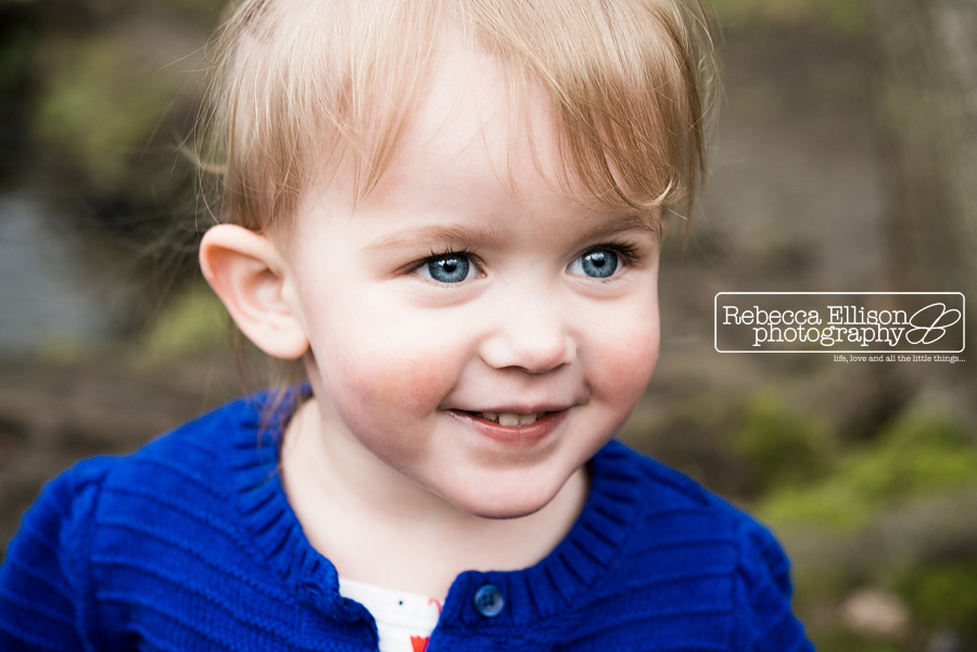 Portrait of a two year old girl in a bright blue sweater photographed by Seattle toddler photographer Rebecca Ellison