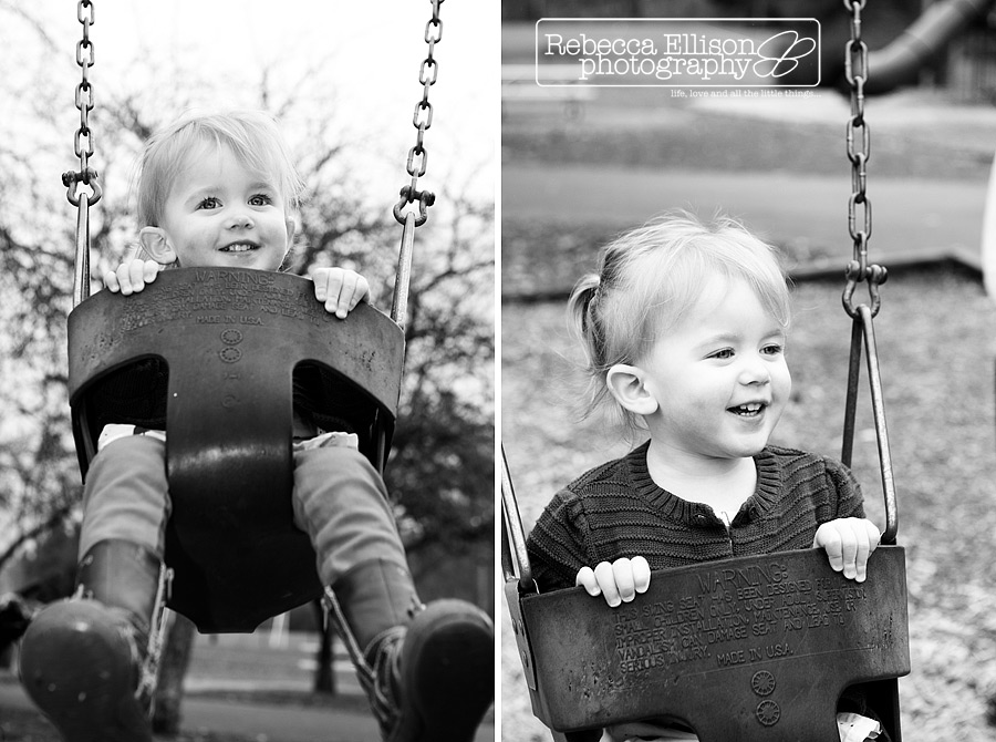 Black and white portraits of a 2 year old on the swings photographed by Seattle toddler photographer Rebecca Ellison