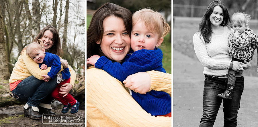 2 year old and her mom in outdoor family portraits photographed by Seattle family photographer Rebecca Ellison