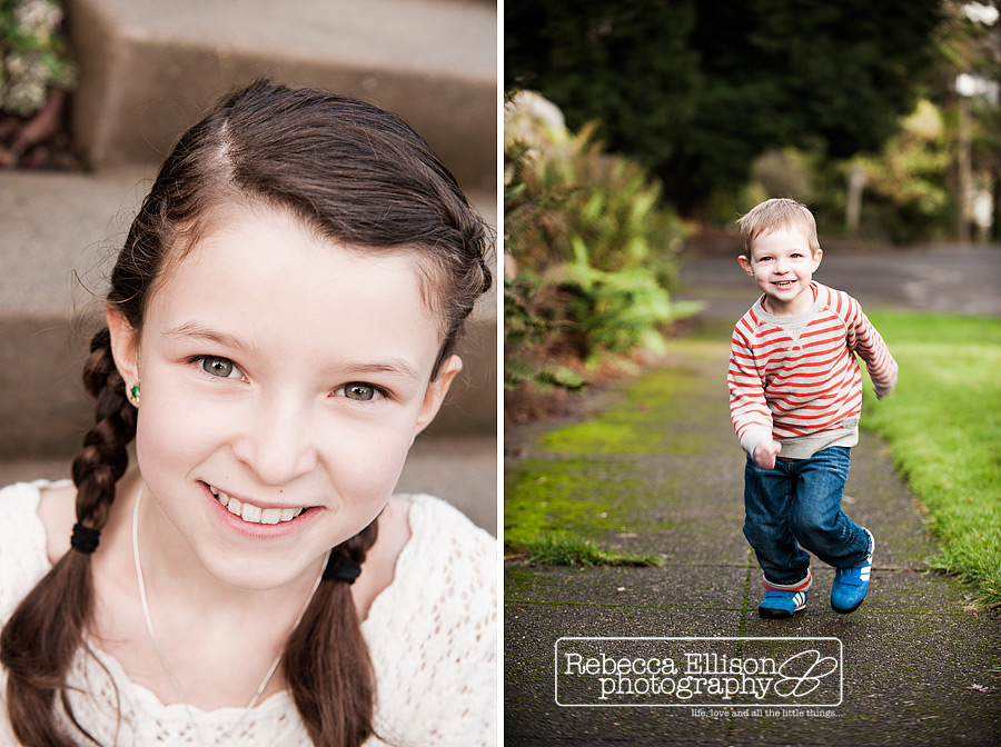 Individual portraits of siblings photographed by Seattle chid photographer Rebecca Ellison