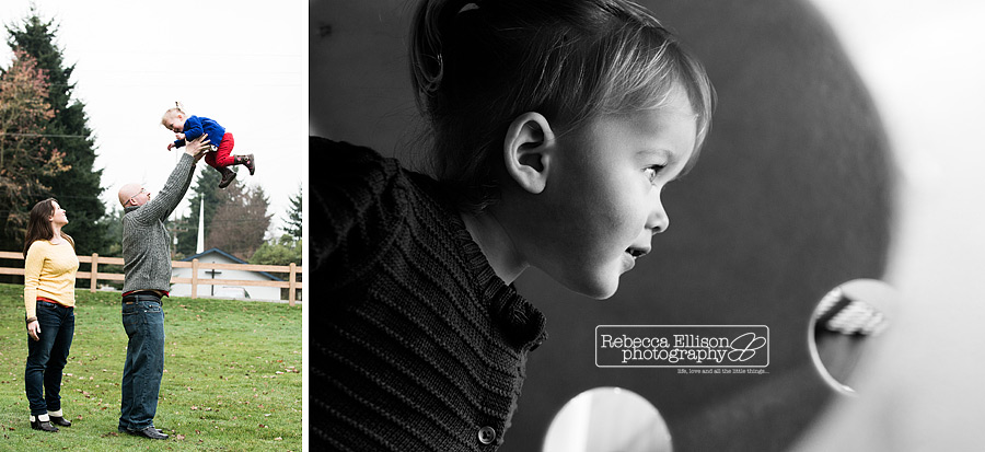 2 year old plays with her family in an outdoor portrait session in the fall in Seattle photographed by Rebecca Ellison Photography