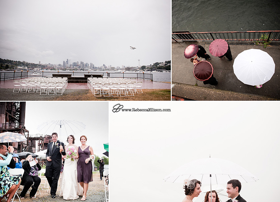 Gasworks Park wedding in the rain photographed by Seattle wedding photographer Rebecca Ellison