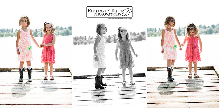 portraits of young girls on a dock at a sunny outdoor  greenlake family portraits