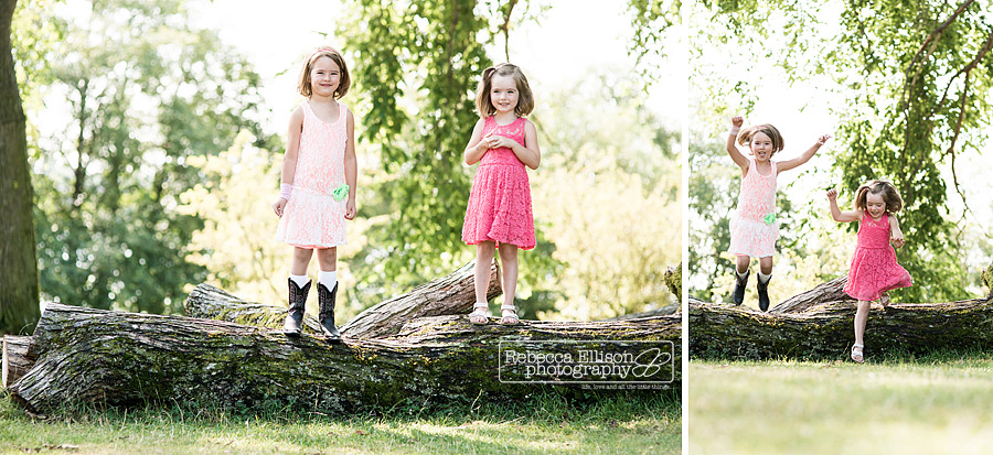 young girls play on tree stump laughing during greenlake family portraits session by Seattle family photographer Rebecca Ellison