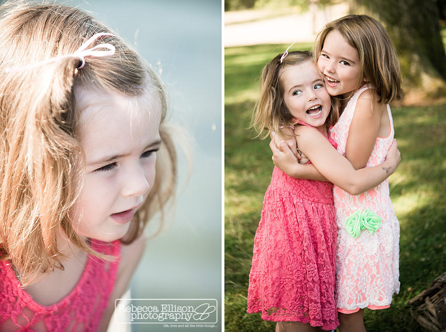 silly candid portaits of two sisters at a greenlake family portraits by Seattle family photographer Rebecca Ellison Photography