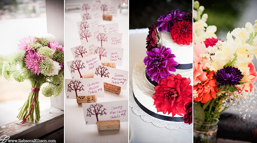 Wedding details featuring a white and lavender chrysanthemum bridal bouquet, wine cork place card holders, a wedding cake covered in purple and red chrysanthemums and multicolored floral arrangements