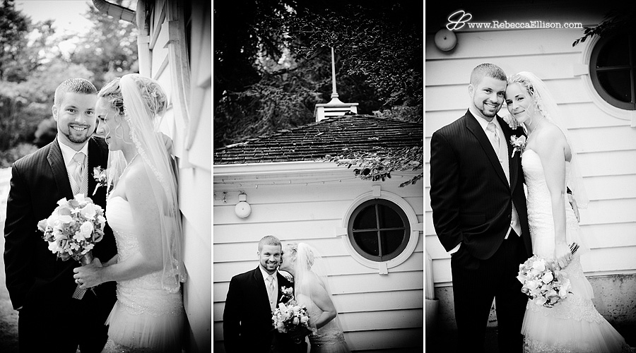 Black and white outdoor wedding portraits at the Montevilla Farmhouse photographed by Rebecca Ellison Photography
