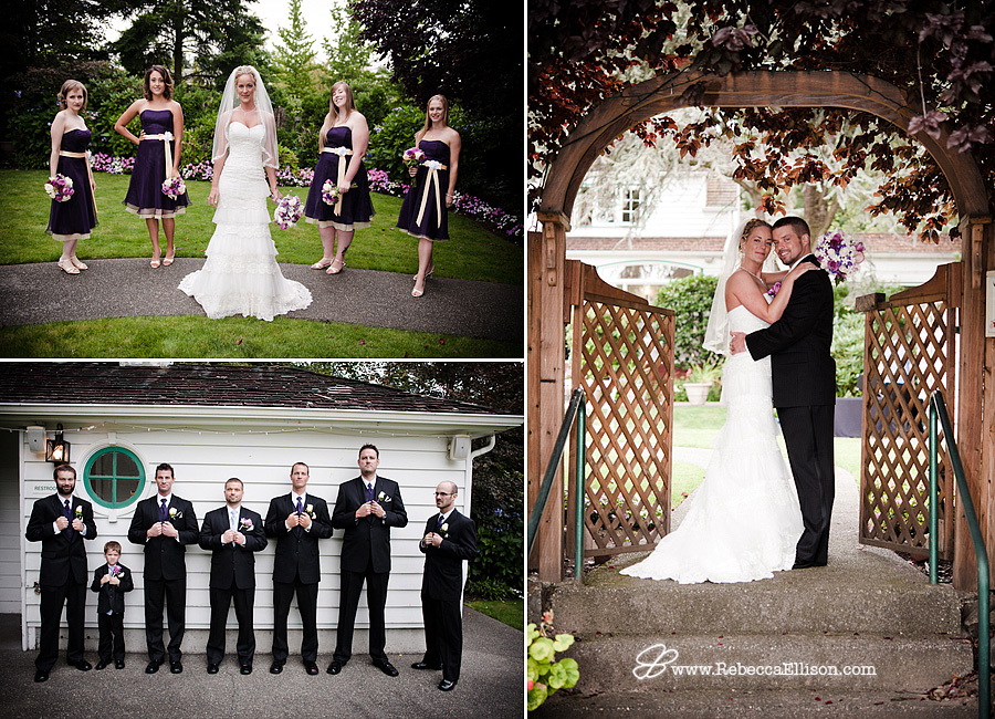 Wedding party portraits featuring dark purple bridesmaids dresses, black tuxedos from the Tux Shop and a white lace tiered wedding dress from Bridal and veil photographed by Rebecca Ellison Photography