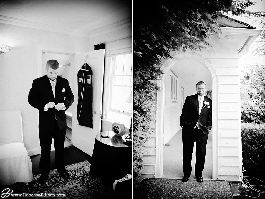 Groom gets ready for the wedding at the Montevilla Farmhouse in Bothell Tuxedo from the Tux Shop photographed by Rebecca Ellison Photography