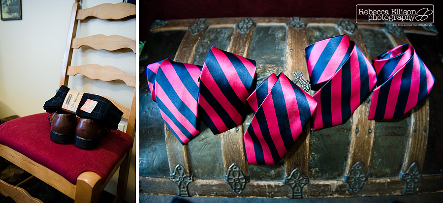Groomsmens details including pink and blue striped ties, brown shoes and dress socks for an outdoor summer wedding