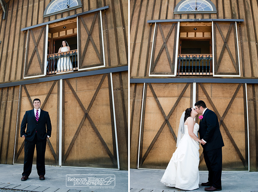 Outdoor Summer wedding at Tazer Valley Farm Bride stands in barn window with groom below, bride and groom kiss in front of barn doors photographed by Rebecca Ellison Photography