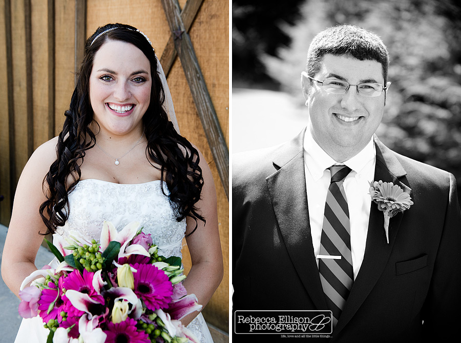 Bride and groom individual portraits featuring a strapless white wedding dress and bright pink and white flowers photographed by Snohomish wedding photographer Rebecca Ellison