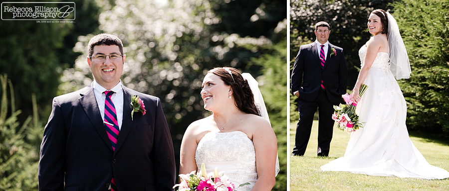 Couples portraits of a bride and groom during their summer outdoor wedding photographed by Snohomish wedding photographer Rebecca Ellison