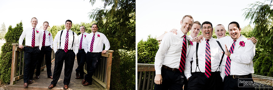 Groomsmen wearing bright pink and navy blue striped ties during outdoor wedding portraits photographed by Seattle wedding photographer Rebecca Ellison