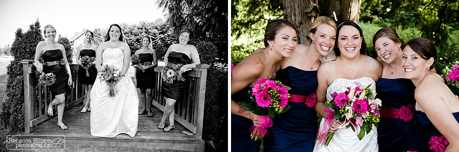 Bridal party wearing navy blue strapless dresses with bright pink belts and pink gerber daisies and the bride wearing a white strapless wedding dress photographed by Snohomish wedding photographer Rebecca Ellison