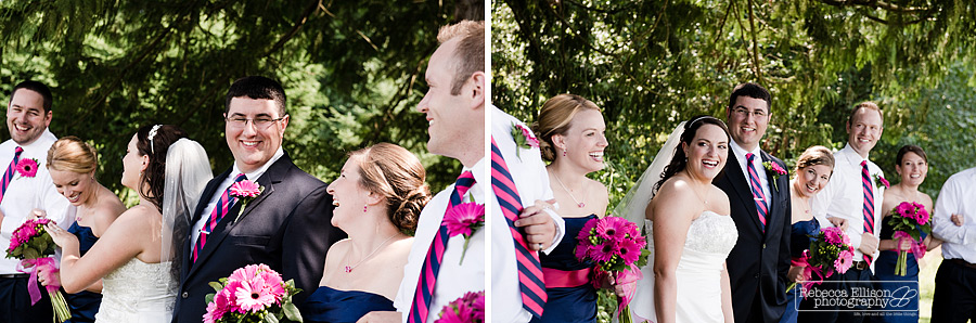 Candid photos of a bridal party at a summer outdoor wedding with a bright pink and navy blue color scheme photographed by Rebecca Ellison Photography