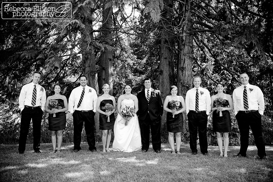Black and white bridal party portraits photographed by Snohomish wedding photographer Rebecca Ellison