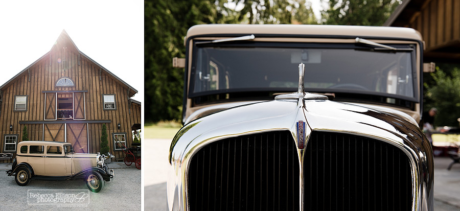 antique ford car in front of a barn at an outdoor summer wedding photographed by Rebecca Ellison Photography