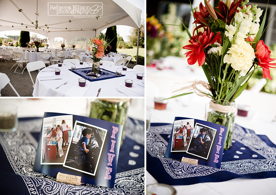 Summer Outdoor wedding with pink and blue details featuring blue bandanas, wine cork photo holders, photos of the couple, mason jar vases filled with pink and white flowers