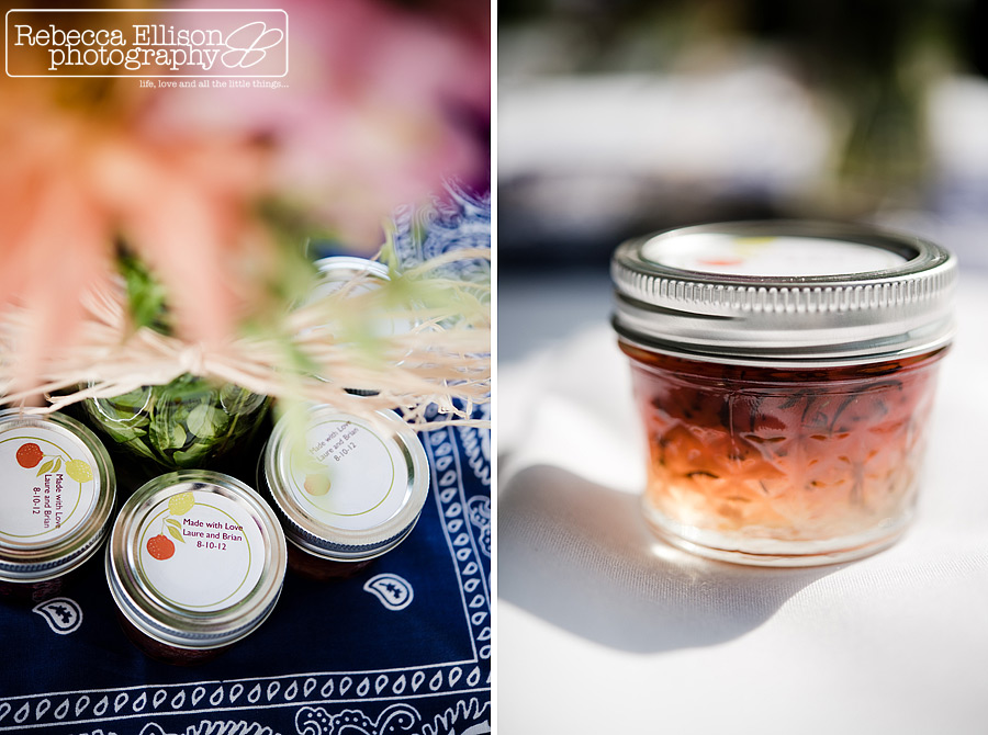 Homemade jam wedding favors photographed by Rebecca Ellison Photography