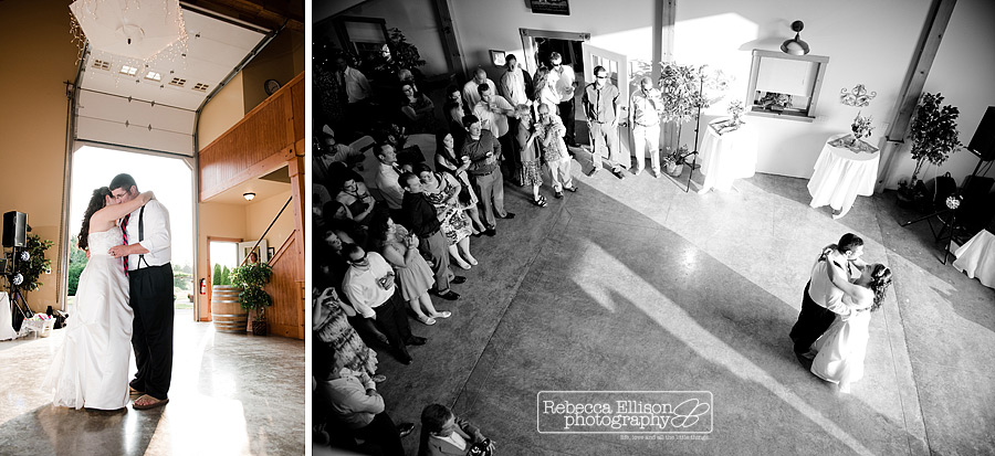 Wedding first dance at Tazer Valley Farm photographed by Rebecca Ellison Photography