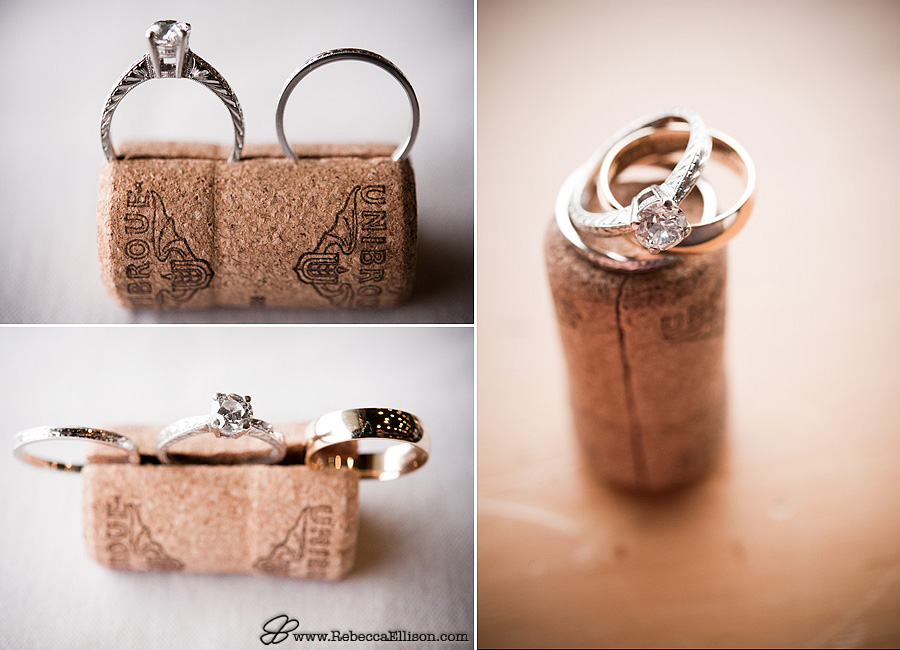 Wedding rings in a wine cork photographed by Seattle wedding photographer Rebecca Ellison