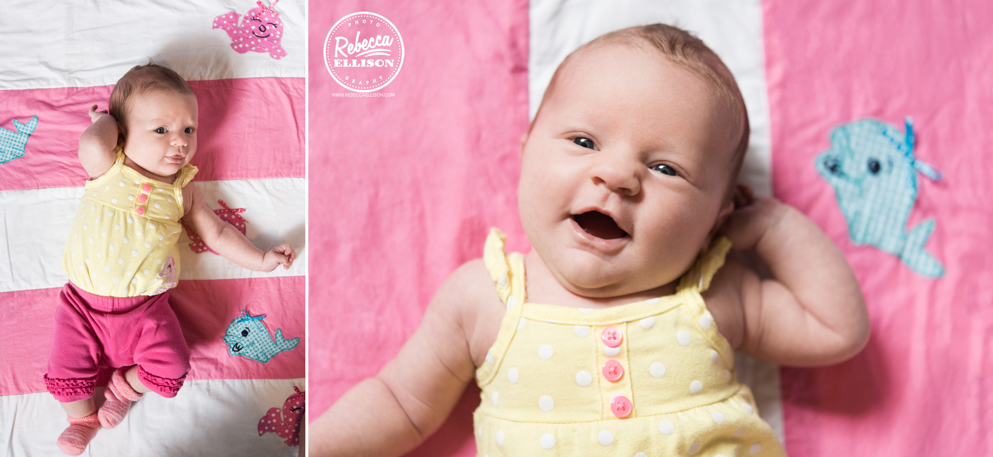 Adorable baby girl smiles on a pink and white blanket photographed by Shoreline Baby Photographer Rebecca Ellison
