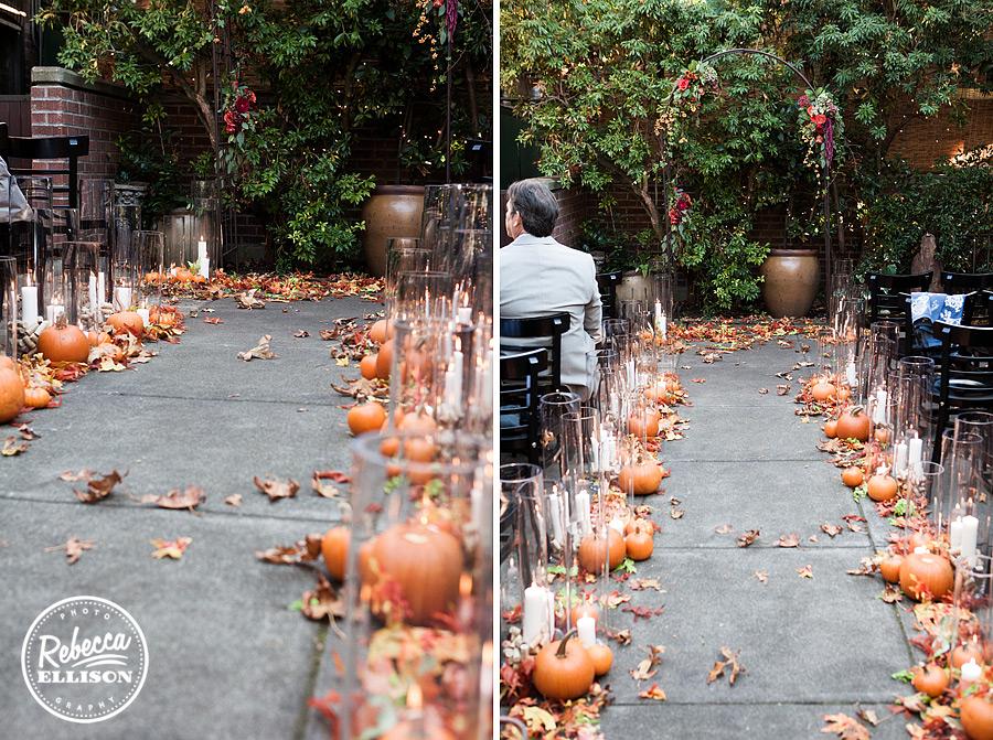 Serafina seattle wedding ceremony on patio, pumpkins
