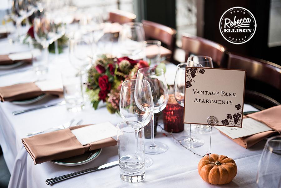Serafina seattle wedding table details