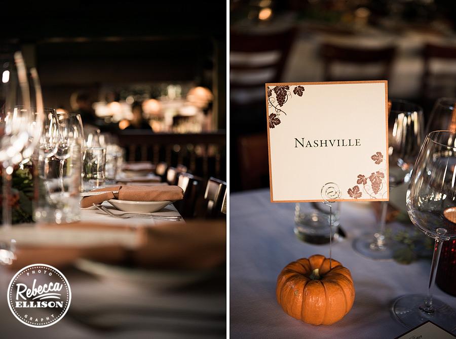 Serafina seattle wedding reception table details