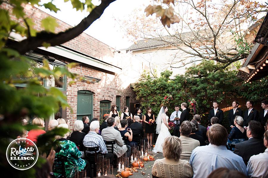 Serafina seattle wedding ceremony on patio