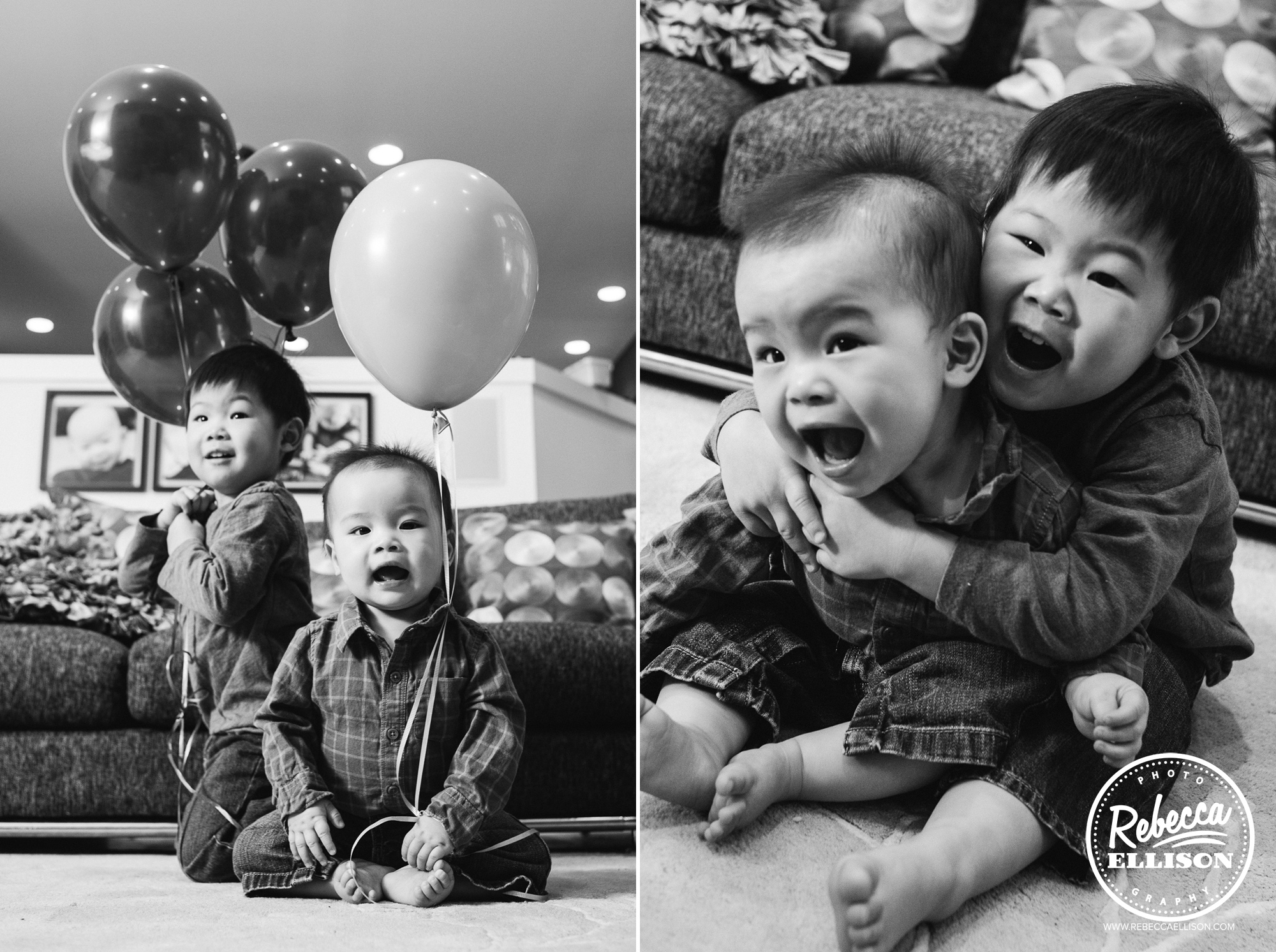 Sibling photo session at a first birthday celebration featuring balloons photographed by Rebecca Ellison Photography