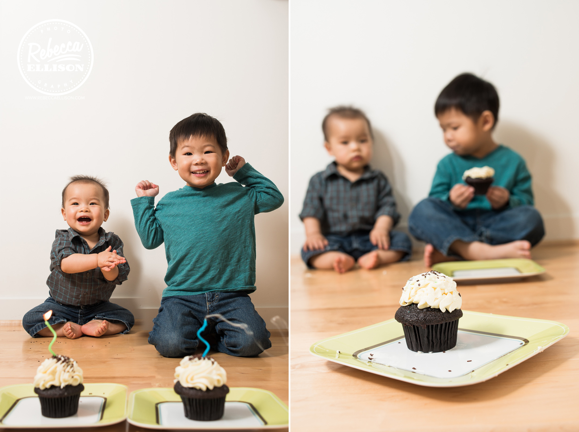 First birthday portrait session with cupcakes photographed by Shoreline Family photographer Rebecca Ellison