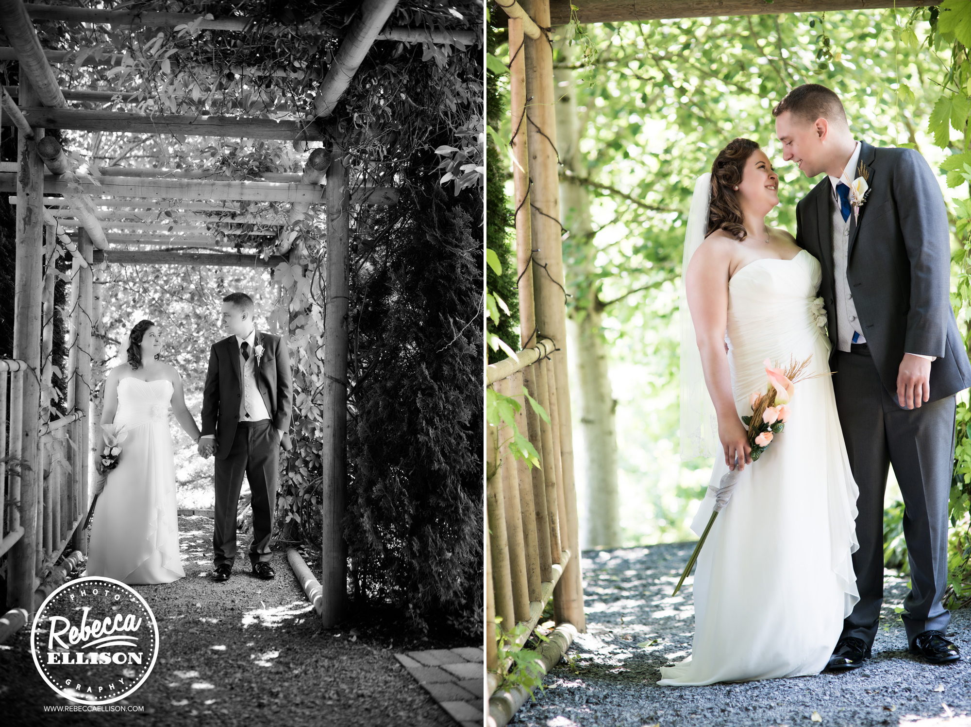 Outdoor wedding portraits at Snohomish wedding venue Jardin del sol featuring white strapless wedding dress photographed by Rebecca Ellison Photography