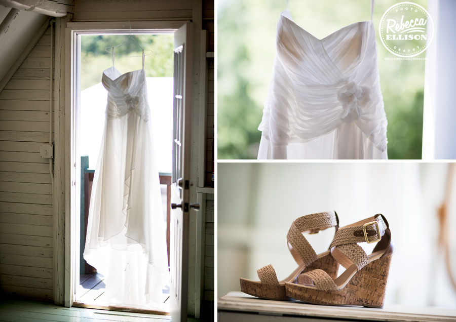 Bride details featuring a white strapless wedding dress and tan wedge sandals photography by Rebecca Ellison