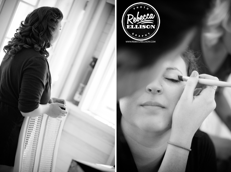 Bride gets ready for her wedding photographed by Rebecca Ellison Photography