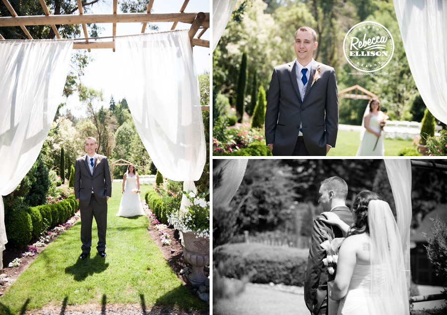 First look for a bride and groom on their wedding days at a DIY wedding at Jardin Del Sol photographed by Seattle wedding photographer Rebecca Ellison