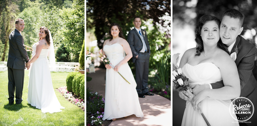Outdoor wedding portraits of a bride and groom at Snohomish wedding venue Jardin Del Sol featuring a white strapless wedding dress and fake flowers photographed by Rebecca Ellison photography