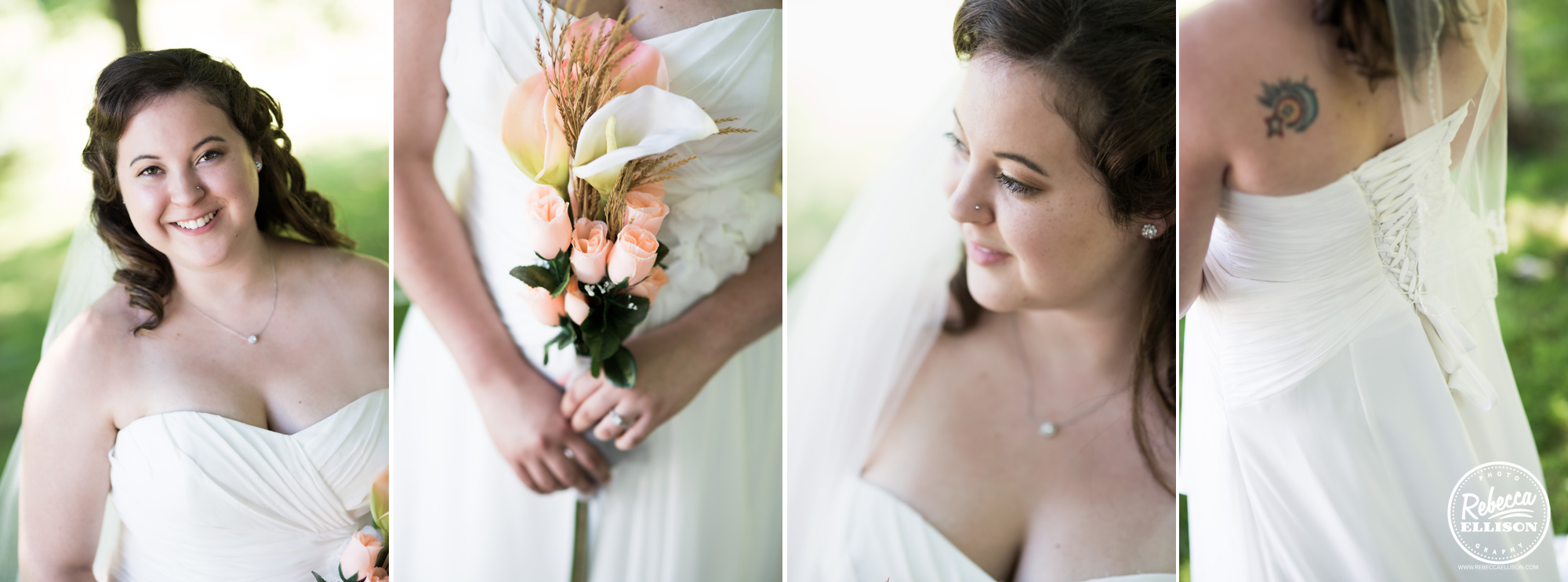 Bride details featuring a white strapless corset back wedding dress and fake peach and white flowers photographed by Rebecca Ellison photography