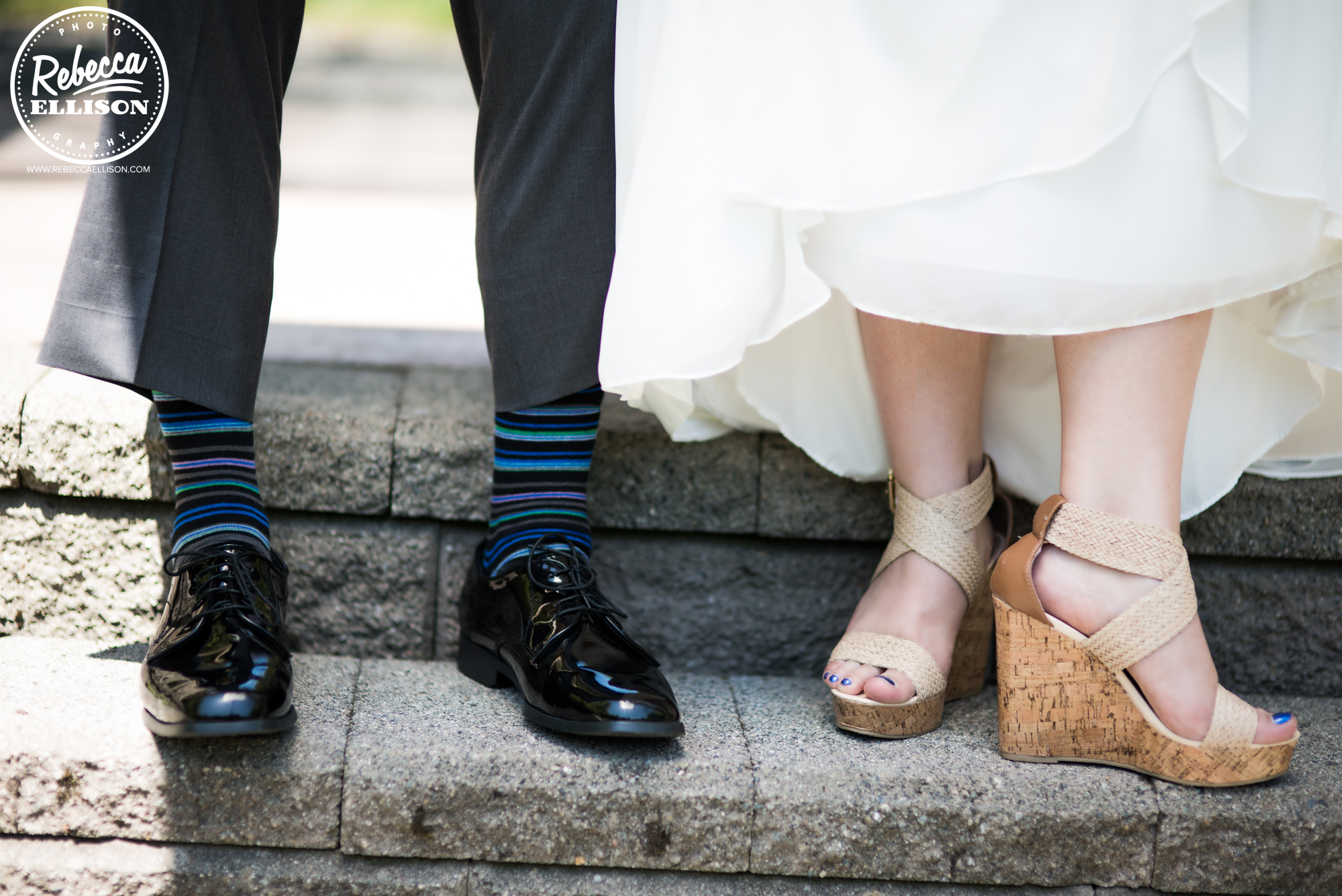 Wedding portraits featuring feet wearing tan cork wedge sandals and striped socks