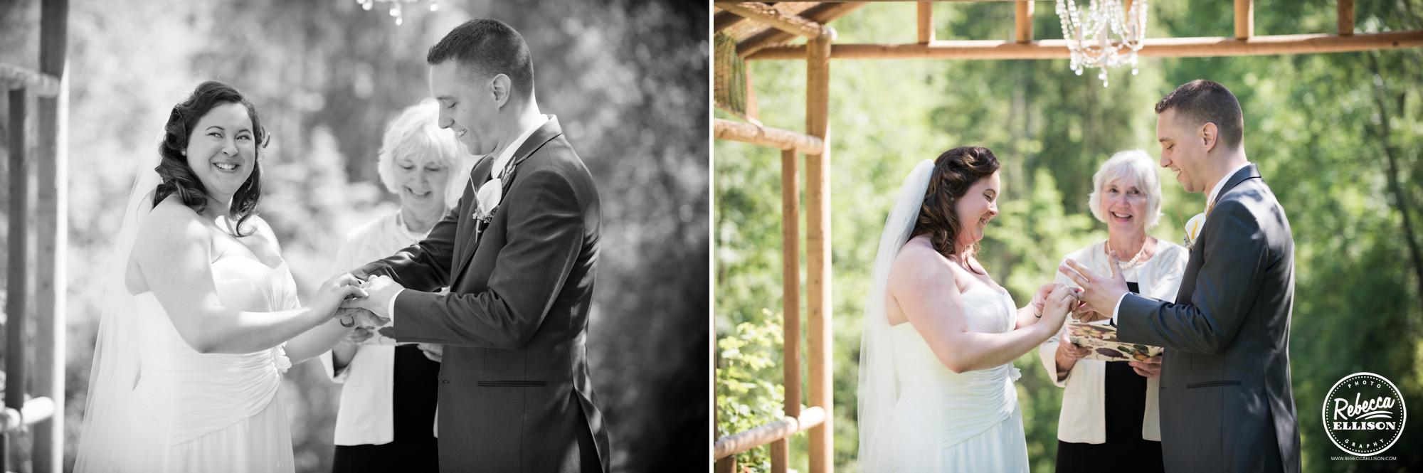 Wedding ceremony at Snohomish wedding venue Jardin Del Sol photography by Rebecca Ellison