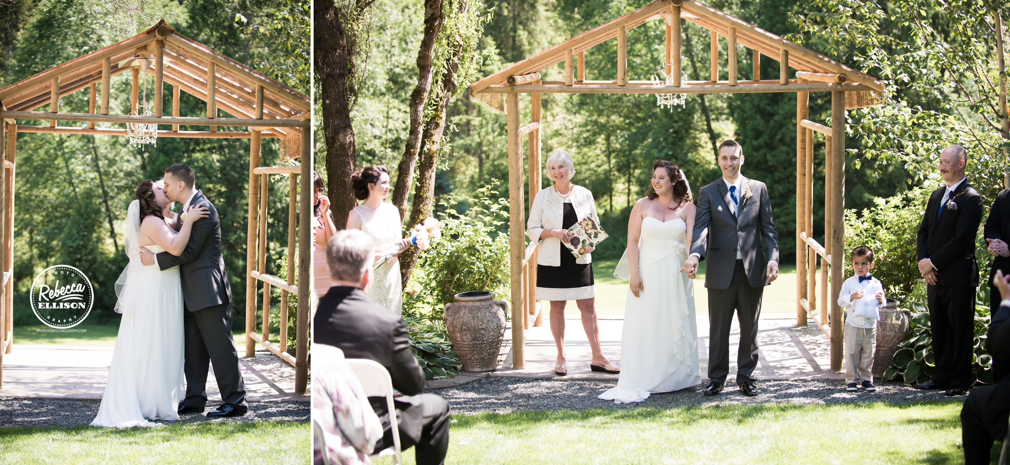 Wedding Ceremony at snohomish wedding venue Jardin Del Sol featuring a wooden arbor and white strapless wedding dress photographed by Rebecca Ellison Photography