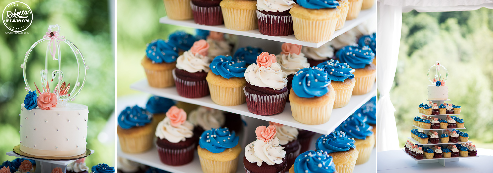 Cupcakes and dessert at a DIY peach and blue wedding photographed by Rebecca Ellison photography